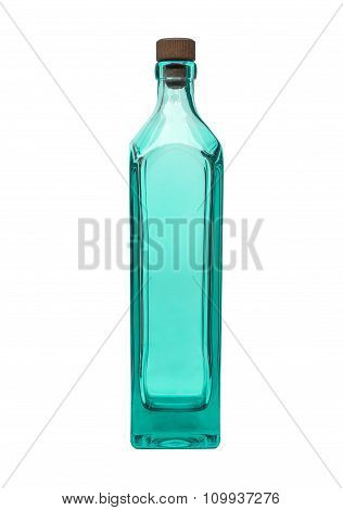 an empty aqua glass bottle on isolated background