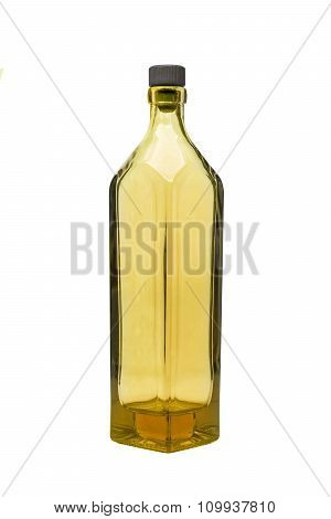 an empty yellow bottle on isolated background