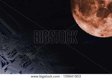 computers motherboard floating in space towards a large surreal moon, space-technology