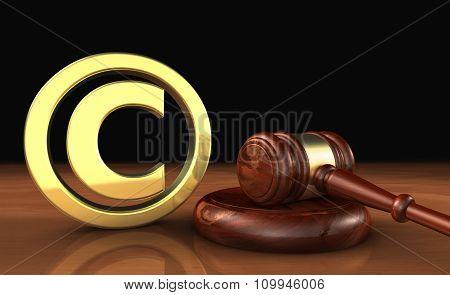 Copyright Icon And Gavel Law Symbol