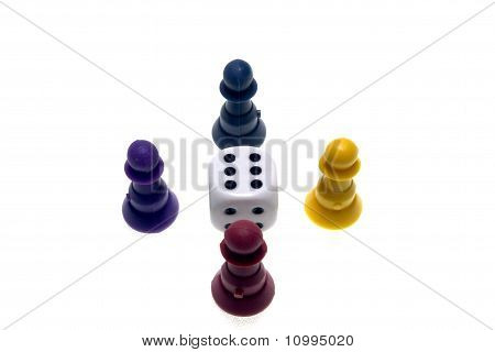 Four pawns and a dice