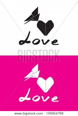 Vector origami butterfly and heart shape paper- Stock Illustration