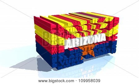 Arizona State Cities List Textured By Flag