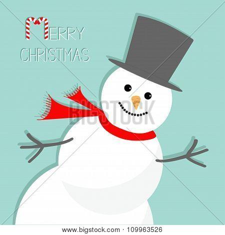 Cartoon Snowman In The Corner. Blue Background. Merry Christmas Card Flat Design