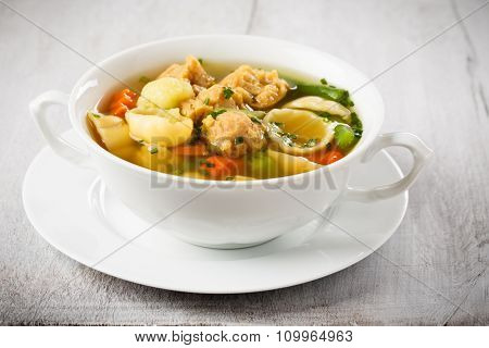 Vegan Noodle Soup With Soy Chunks