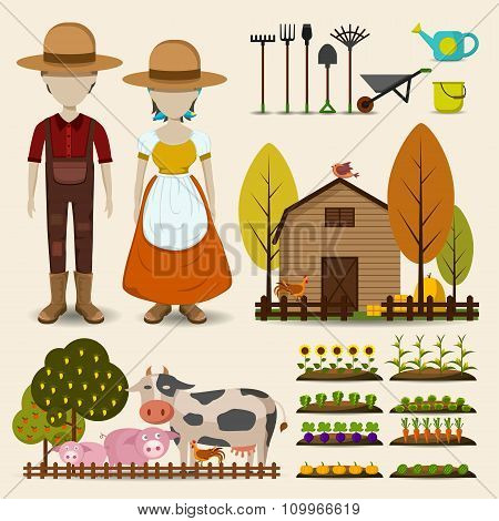Farming and agriculture icon collection set, create by cartoon vector
