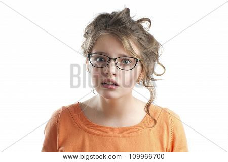 Portrait Of A Cute Little Girl Puzzled..