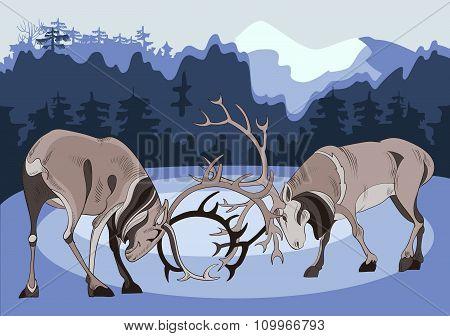 Beating two deer