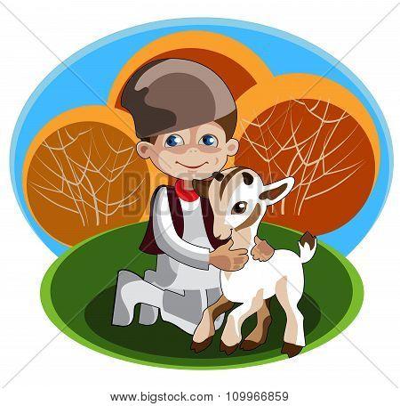 boy - shepherd and kid