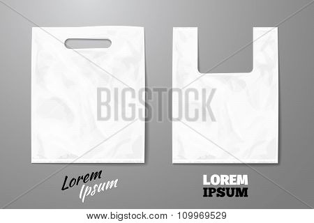 Blank vector white realistic plastic bag
