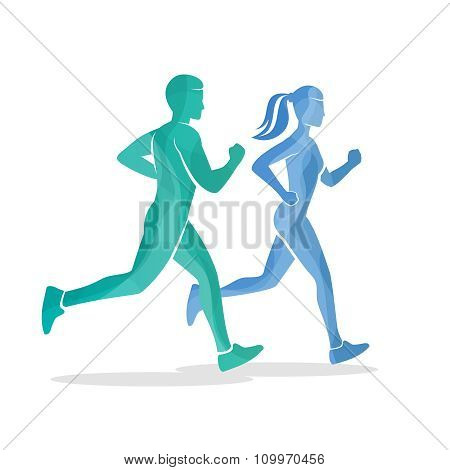 Running man and woman silhouettes