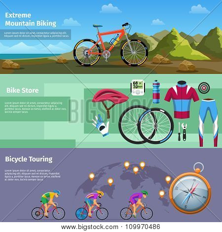 Extreme mountain biking, bike store, bicycle touring vector banners set
