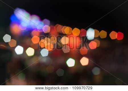 Abstract Blurred Lights In Loy Krathong Festival