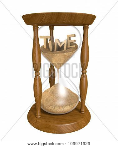 Time running out in an old hourglass, isolated on white background