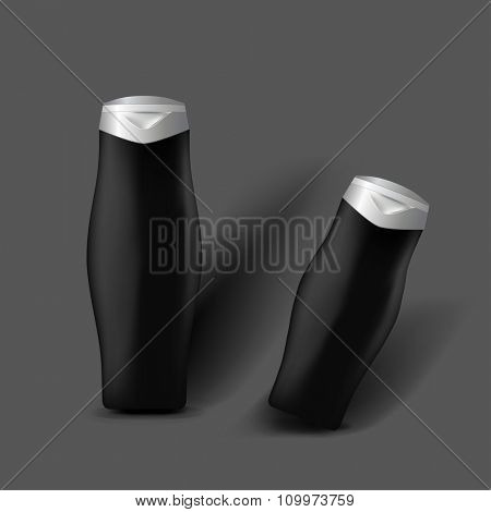 Mockup template for branding and product designs. Isolated realistic bottles with shadows. Easy to use for advertising and cosmetic products.