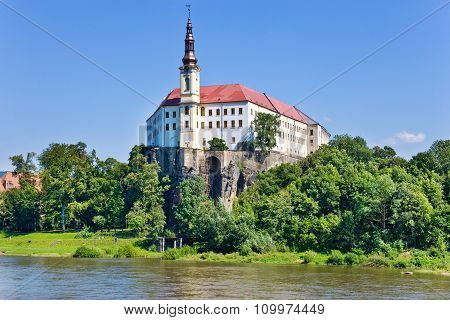 Castle And Elbe River, Decin Town, Czech Republic