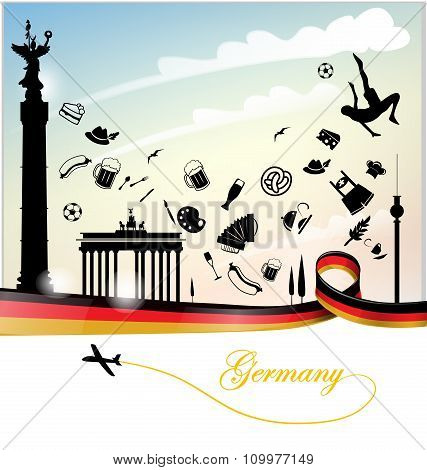 Germany Background With Flag And Symbol Set