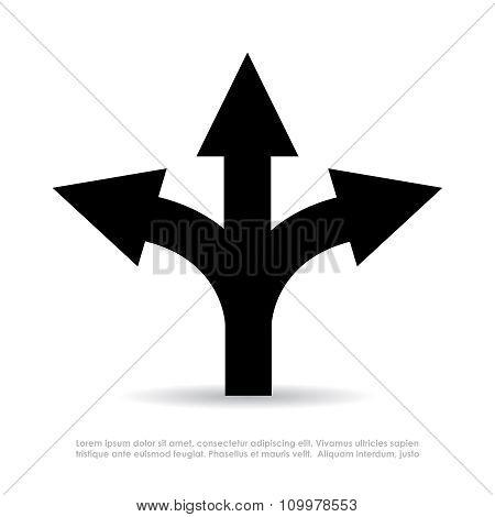 Three-way direction arrow