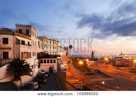 Tangier city and port, coastal landscape, Morocco, Africa poster