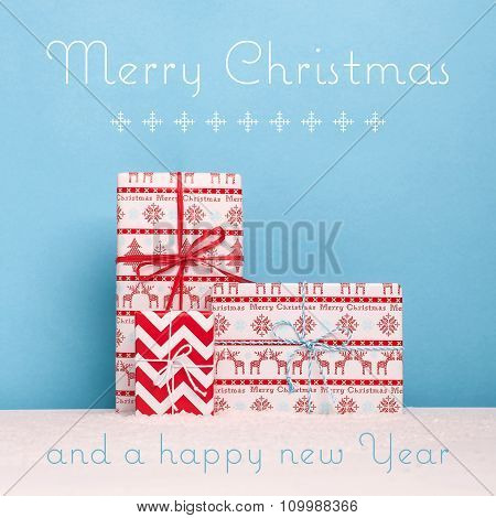 Decorative christmas card with snowy scene