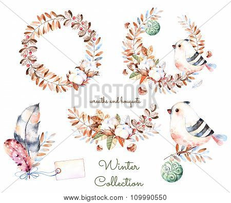 Winter collection with hand painted watercolor winter bouquets and wreaths.Winter collection with br