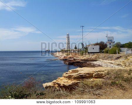Tarkhankut lighthouse in Tarkhankut national natural park, Crimea