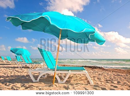 Beach lounge chairs in Miami Florida