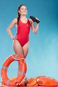 0168be6da40 Happy Lifeguard Woman Image   Photo (Free Trial)