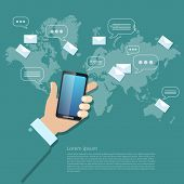 Global communications sending messages mms sms touch screen mobile phone poster