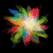Freeze motion of colored dust explosions isolated on black background poster