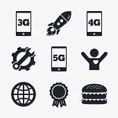 Award achievement, spanner and cog, startup rocket and burger. Mobile telecommunications icons. 3G, 4G and 5G technology symbols. World globe sign. Flat icons. poster