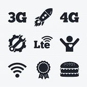 Award achievement, spanner and cog, startup rocket and burger. Mobile telecommunications icons. 3G, 4G and LTE technology symbols. Wi-fi Wireless and Long-Term evolution signs. Flat icons. poster