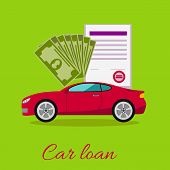 Car loan approved document with dollars money concept. Modern car on stylish background in flat cartoon design style. Loan, car, auto loan, buying a car, new car, car finance, car keys poster
