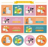 Household beverages food and cosmetic. Appliance and makeup fashion, lipstick and brush, powder and care, detergents and mascara, bottle product, drink and kitchen equipment illustration. Banners set poster