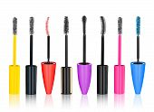 a collection of multicolored brushes for mascara on isolated white background poster