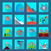 Natural disasters catastrophes flat icons set with volcanic eruption flood tornado and earthquake abstract isolated vector illustration poster