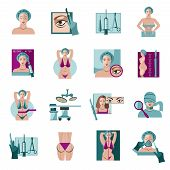 Cosmetic facial and body lift  plastic surgery flat icon collection with abdominal contouring abstract isolated vector illustration poster