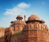 Red Fort in Delhi. UNESCO world Heritage Site, the Red Fort is an iconic symbol of India. Delhi, India. poster