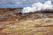 Steaming fumarole at  Gunnuhver geothermal area  in the southwest part of the Reykjanes Peninsula of Iceland poster