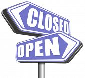 open or close opening hours or closing time start of new season no access and closed poster