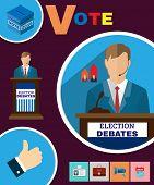 USA Presidential Election Debates Campaign Ad Flyer. Social Promotion Banner. Digital vector illustration. poster