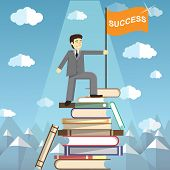 Knowledge Is The Path To Success. The man on top of a mountain of books. Conceptual web illustration for power of knowledge. Students Reaching New Heights Through Books and Learning poster