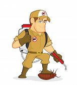 Clipart picture of an exterminator or pest control cartoon character poster