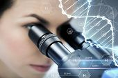 science, chemistry, technology, biology and people concept - close up of female scientist looking to microscope in clinical laboratory over hydrogen chemical formula and dna molecule structure poster