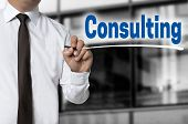 Consulting is written by businessman background concept. poster