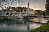 Long Exposure photo of Lourdes Sanctuary France poster