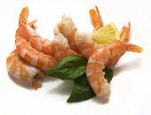 Some hotwater shrimps tails with basil and lemon poster