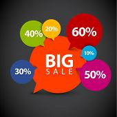 Speech bubble pointer for sale item - various percentage discount - dark version poster