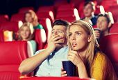 cinema, entertainment and people concept - couple drinking soda and watching horror, drama or thriller movie in theater poster