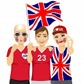 illustration of group of young british soccer fans cheering their national football team poster